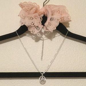 Silver Tone Necklace w/ Dangle Gem Circle Pendant